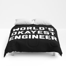 World's Okayest Engineer Funny Quote Comforters