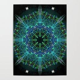 Kaleidoscope fantasy on lighted peacock shape Poster