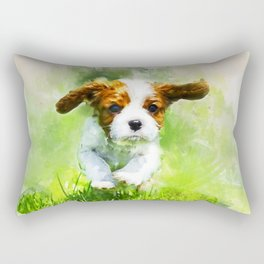 Wateroclor King Charles Spaniel puppy Rectangular Pillow