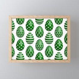 Happy green Easter eggs Framed Mini Art Print