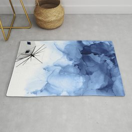 Blue Abstract Painting, Windmill Photography Rug