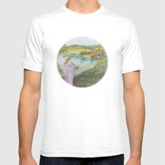 Girl Setting a Bird Free Mens Fitted Tee MEDIUM White