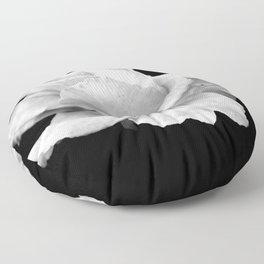 White Rose On Black Floor Pillow