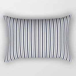 Navy White And Grey Vertical Stripes Rectangular Pillow