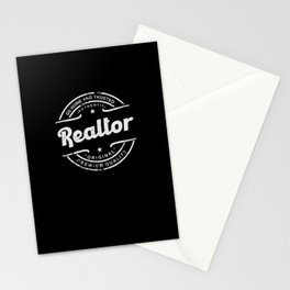 Best Realtor retro vintage distressed logo stamp Stationery Cards