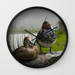 Canvasback Duck Pair by a Pond Wall Clock
