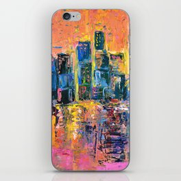 Pink Sky - abstract painting New York city skyline at sunset impressionism acrylic iPhone Skin