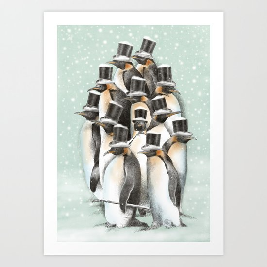 A Gathering in the Snow Art Print