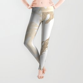 Simply Tropical Palm Leaves in White Gold Sands Leggings