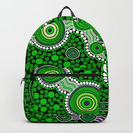 Authentic Aboriginal Art - The Journey Green Backpack