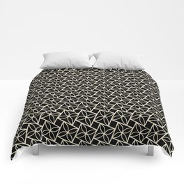 STACK attractive black & off-white squares with floral motif Comforters