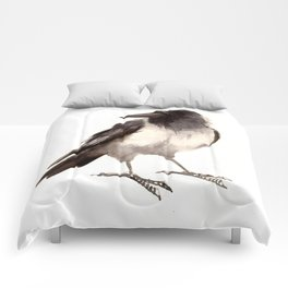 Crow decor, hooded crow art Comforters