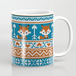 Fair Isle Fox - Blue Coffee Mug