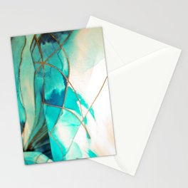 Teal on Silk Stationery Cards