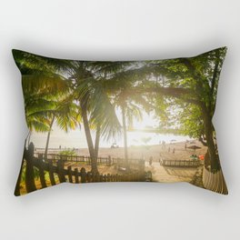 Sunset Behind Palm Trees Rectangular Pillow