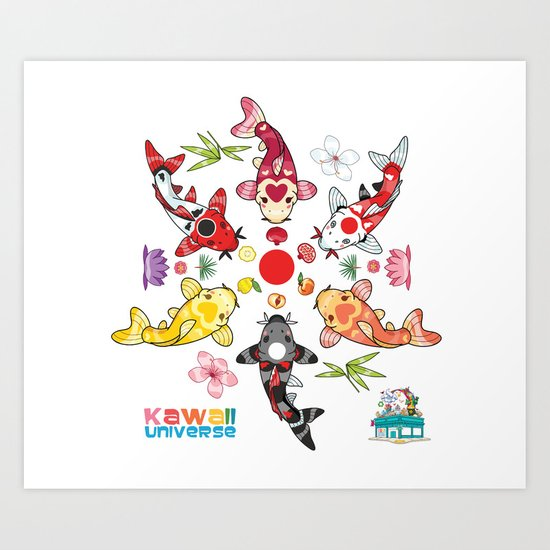 Kawaii Koi Lotus Mandala Art Print