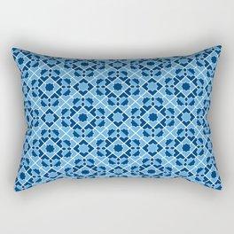 Blue Geometric Tiles Rectangular Pillow