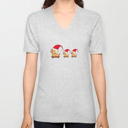 Christmas Dog and Puppies on Skateboards in Santa Hats  Unisex V-Neck