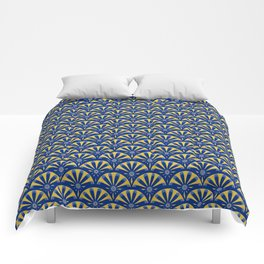 Art Deco Fan in blue and gold Comforters