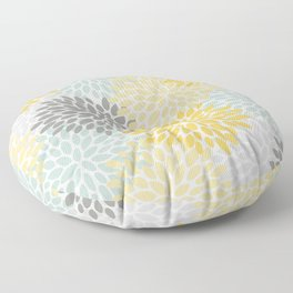 Floral Pattern, Yellow, Pale, Aqua, Blue and Gray Floor Pillow
