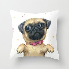 Cute Pug Puppy Dog Watercolor Painting Throw Pillow