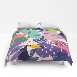 Tropical Jungle With Flamingos And Toucans Memphis Style Comforters