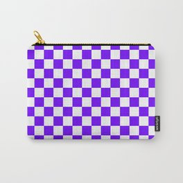 Small Checkered - White and Indigo Violet Carry-All Pouch