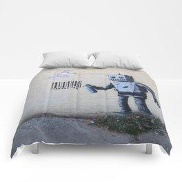 Banksy Robot (Coney Island, NYC) Comforters