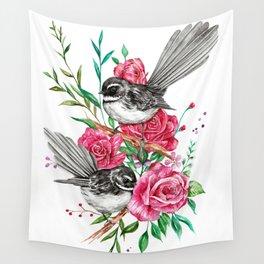 Floral Piwakawakas Wall Tapestry