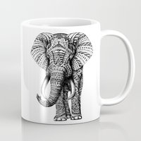 forever young Mugs featuring Ornate Elephant by BIOWORKZ