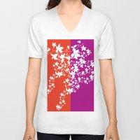 climbing V-neck T-shirts featuring Climbing Flowers by Mari Biro
