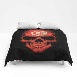 Dark Skull with Flag of Tunisia Comforters