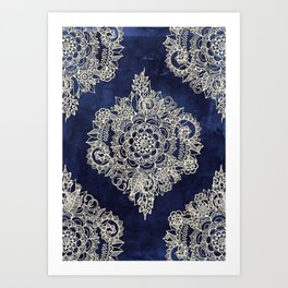 Cream Floral Moroccan Pattern on Deep Indigo Ink Art Print