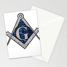 Free Mason Masonic  Blue African Print Compass Stationery Cards