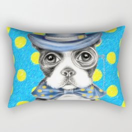 Boston Terrier Polka Dot Rectangular Pillow
