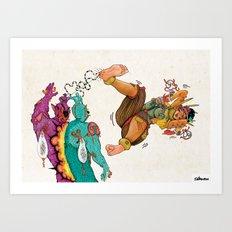 The Power Of Xbalanque's Blood Reunites The Tsomborga Brothers Art Print