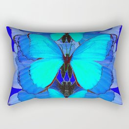 DECORATIVE BLUE SATIN BUTTERFLIES YELLOW PATTERN ART Rectangular Pillow