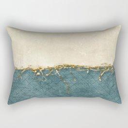 White on Blue Rectangular Pillow