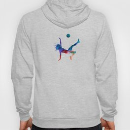 Woman soccer player 08 in watercolor Hoody