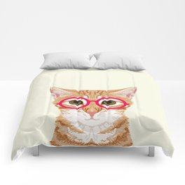 Ginger - Cute cat with glasses hipster cat art for dorm college decor funny cat lady meme Comforters