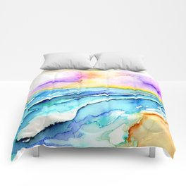 violet clouds - beach at sunset Comforters