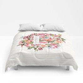 Initial Letter L Watercolor Flower Comforters