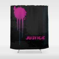 justice Shower Curtains featuring JUSTICE by TheCore