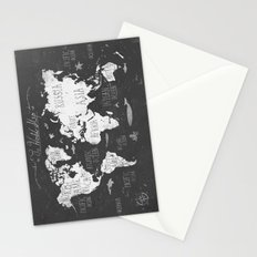 The World Map B/W Stationery Cards