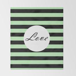 Vintage Love - Pastel green and black design Throw Blanket