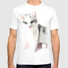 Cloud Cat White MEDIUM Mens Fitted Tee