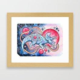 Star Tricera | Cosmic Dinosaur Watercolor Framed Art Print