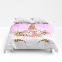 Pink Unicorn and Gold Stars Comforters