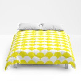 Yellow Fan Shell Pattern Comforters