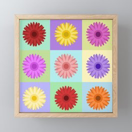 Gerbera Daisies Bright Color Design Framed Mini Art Print